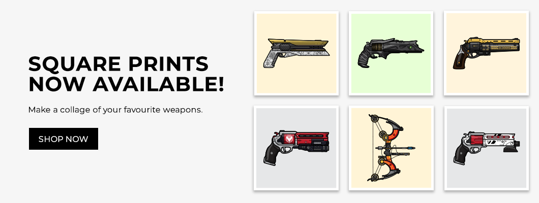 Destiny weapon square poster prints designed by WildeThang