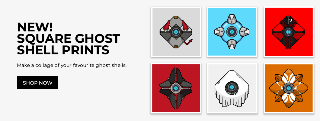 Destiny ghost shell square poster prints designed by WildeThang